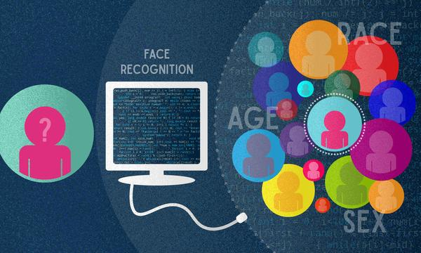 "A figure in a blue circle sits to the left of a computer labeled ""face recognition search"". On the right is a group of figures surrounded by question marks and the words ""age, race, sex."""