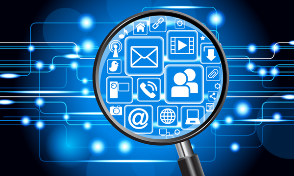 Illustration shows magnifying glass over networked icons for digital materials like email, social media, and others.