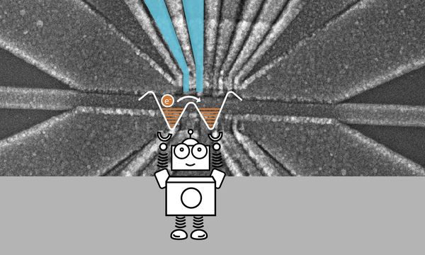 "A cartoon robot holding up a pair of cups representing energy wells. An dot with an ""e-"" on it representing an electron is in the left cup. In the background is a black and white closeup of a electronic chip. Above the cups there are blue colored electric leads."
