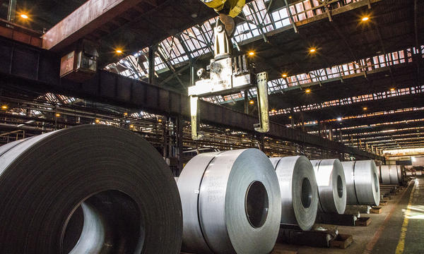 rolls of steel in a manufactuing facility