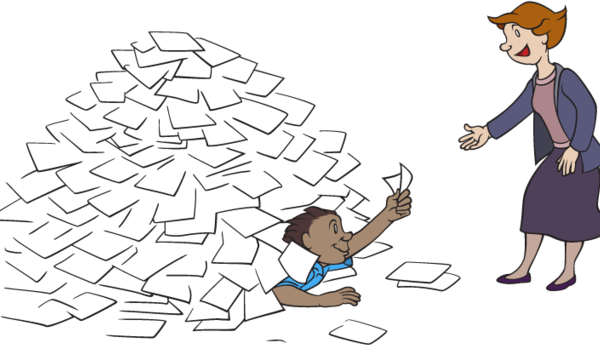 person emerging from beneath a pile of papers to hand a paper to another person standing nearby