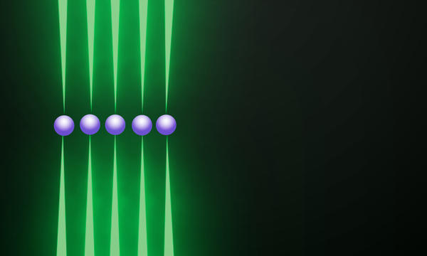 Row of five purple spheres, each held top and bottom by tips of long green probes, on black background.