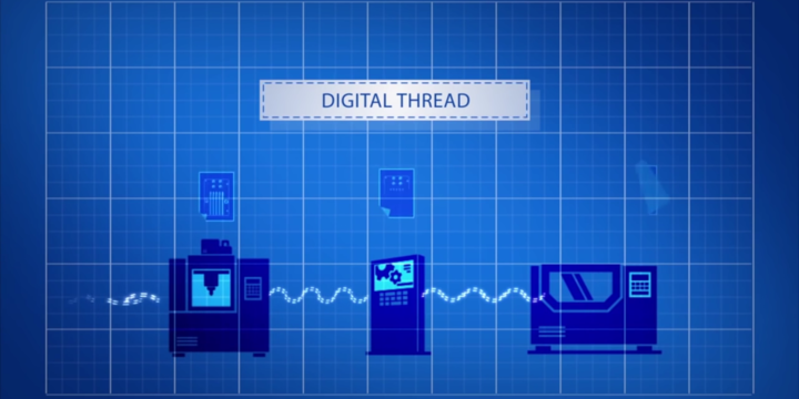 Screenshot from an animation in a video about the Digital Thread