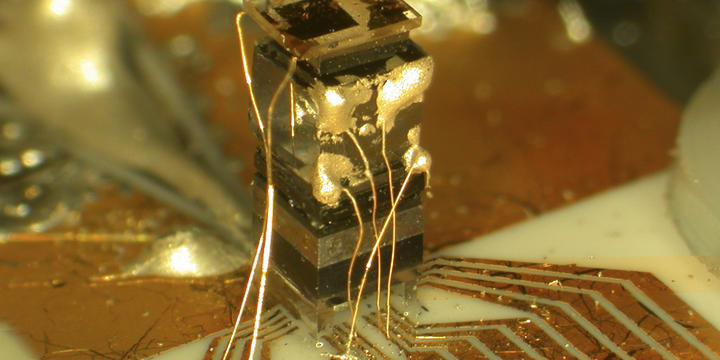 Close up of the NIST chip-scale atomic clock