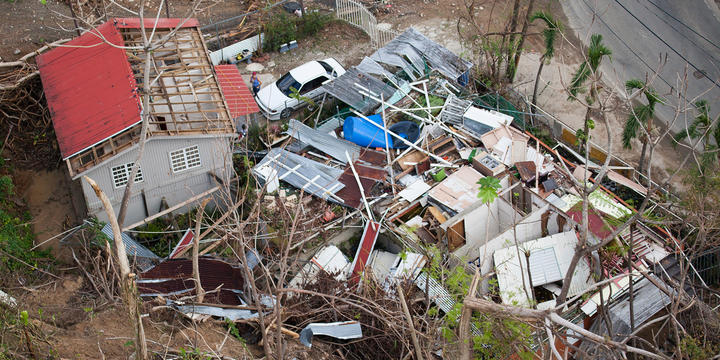 A home in the mountains of Puerto Rico lies in ruins as a result of the extreme force winds of Hurricane Maria.