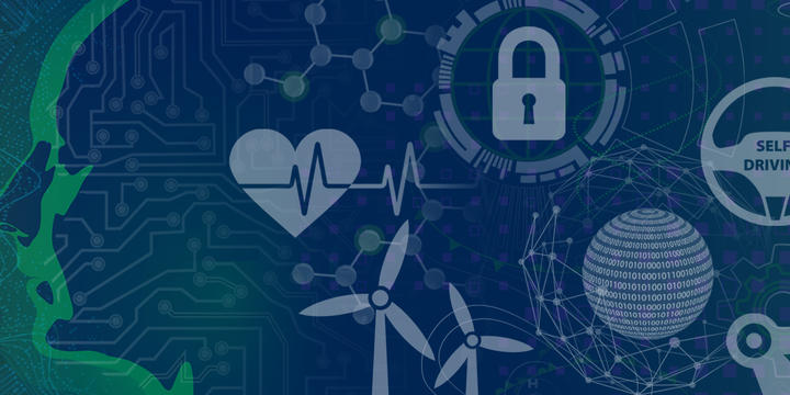 Illustration that shows an outline of a face and then icons to represent different areas of AI including heart (health), lock (cyber), windmills (energy), steering wheel (cars) and manufacturing arm