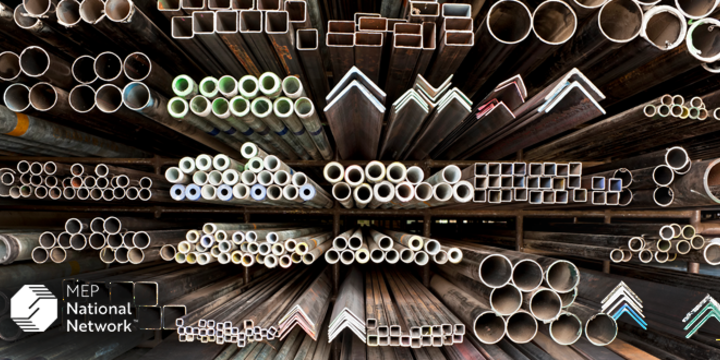 manufacturing metal materials stacked on shelves