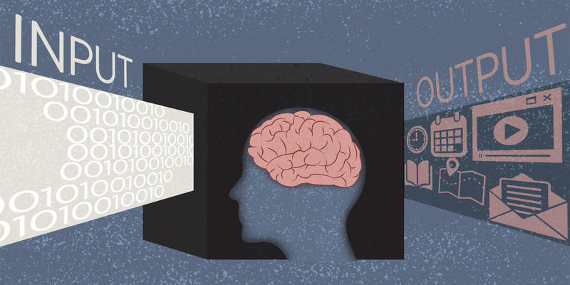 An illustration of a black box with a human brain in it. The input to the black box is 0's and 1's, the output includes icons of maps, emails, calendar appointments and other data that might be useful in a criminal investigation.
