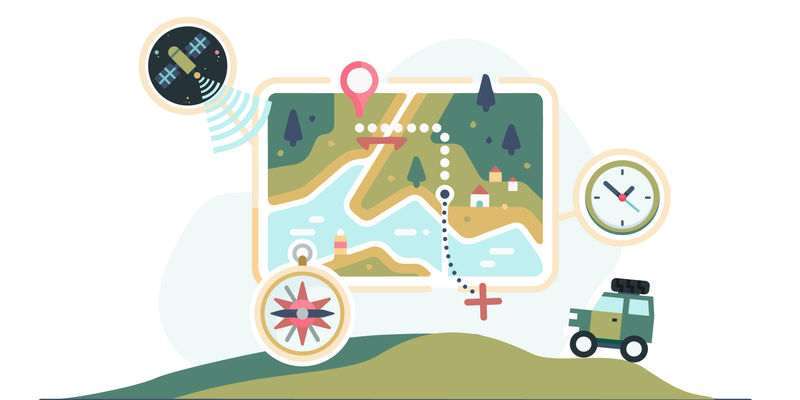 An off-road vehicle on a hill is seen below a map of territory, which is surrounded by a compass, a clock and a satellite.
