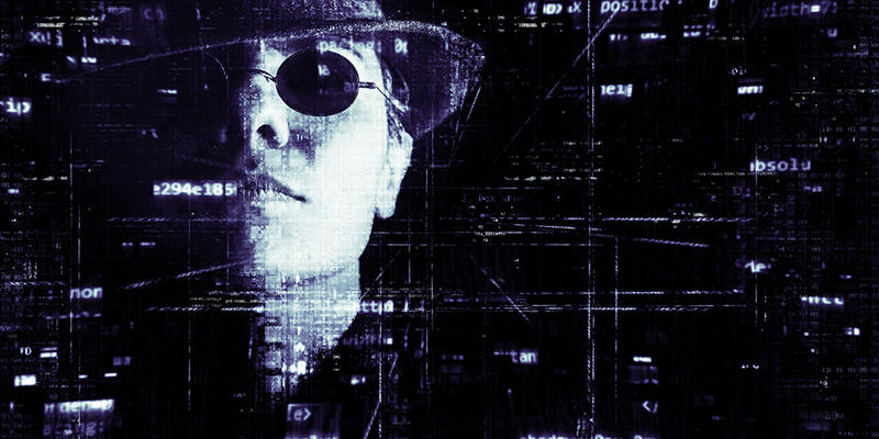 female face against a black background littered with bits of computer code. The woman is wearing a hat and sunglasses. There is a string of code coming from her mouth that looks like a cigarette.