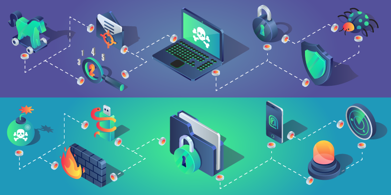 Illustration shows cybersecurity images like laptops and padlocks arranged in a network.