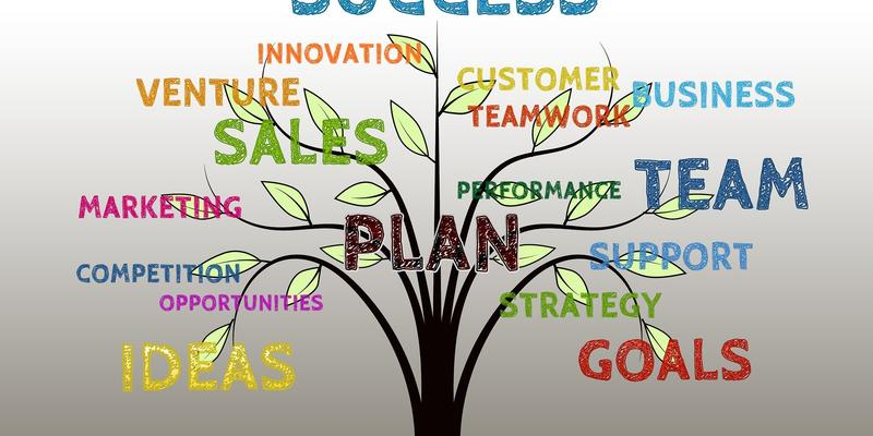 A tree with words on it, such as success, innovation, sales, buisness ,team, goals, ideas, opportunities, and competition