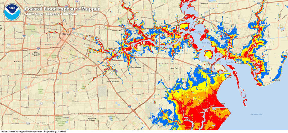 Street map of Houston. Flooding heights are denoted by the color of areas within storm surge zones. Blue areas indicate floods up to three feet tall, yellow areas are up to six feet, orange areas are up to nine feet and floods in red areas are taller than nine feet.