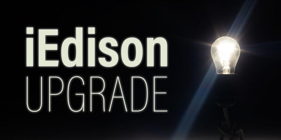 iEdison Banner Image showing the text iEdison Upgrade and a lightbulb