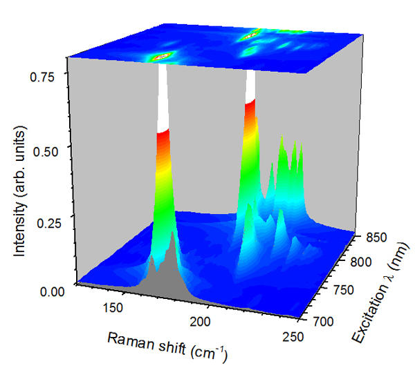 Raman excitation profile of single-wall carbon nanotube dispersion.