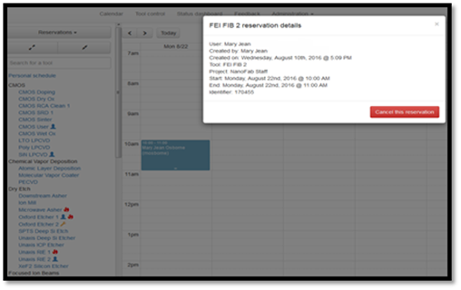 Figure 18: Confirming tool reservation cancellation.