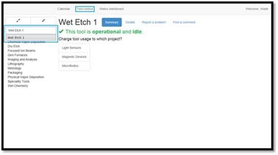 """Figure 34: Accessing the Wet Etch 1 tool from the """"Search for a tool"""" text box field."""