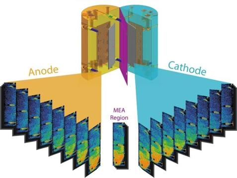 Water profile in the anode, cathode, and MEA region of an operating PEFC obtained via neutron tomography