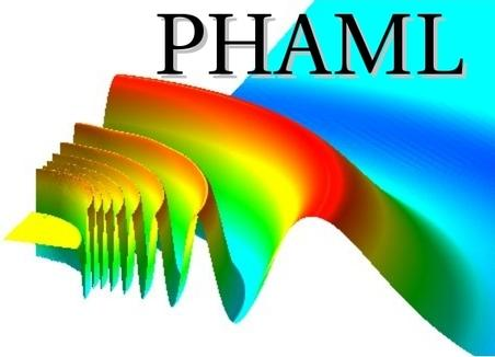 The PHAML logo is based on a wave function from the solution of an eigenvalue problem that models the interaction of two atoms confined in an optical trap.