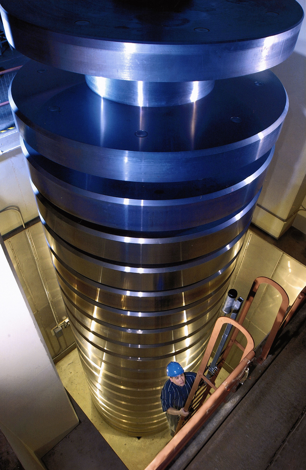 NIST's million-pound deadweight stack, assembled
