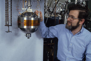 Mike Moldover with the spherical acoustic chamber.
