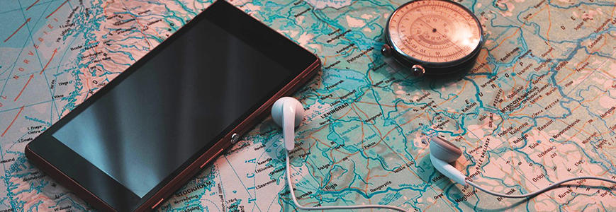 cell phone and map