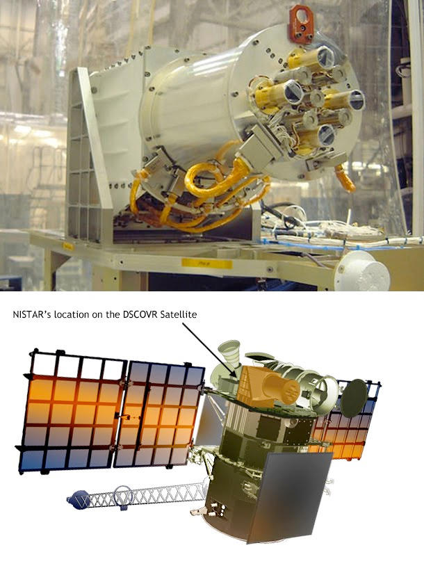 Photo of NISTAR and then an illustration of NISTAR on the DSCOVR satellite