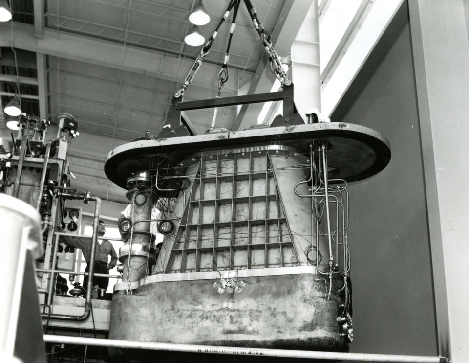 photo of the liquid hydrogen bubble chamber.