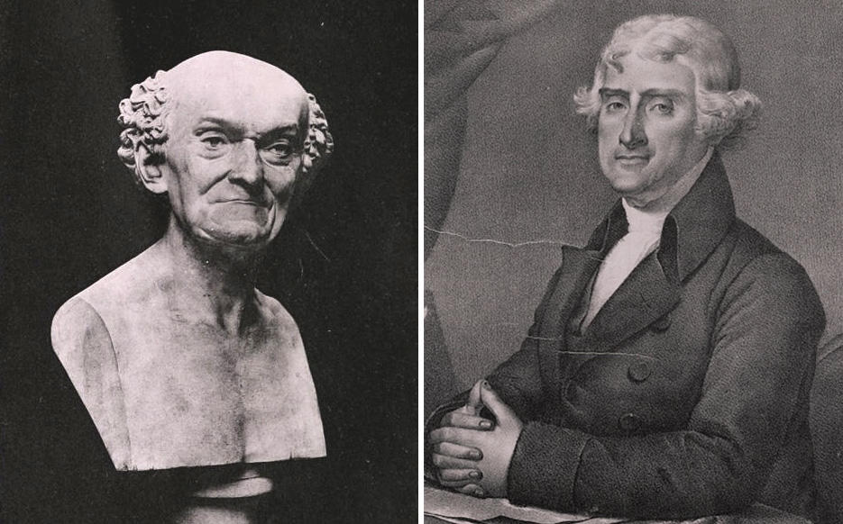 Left: a bust of Joseph Dombey; Right: Thomas Jefferson, patiently waiting ...