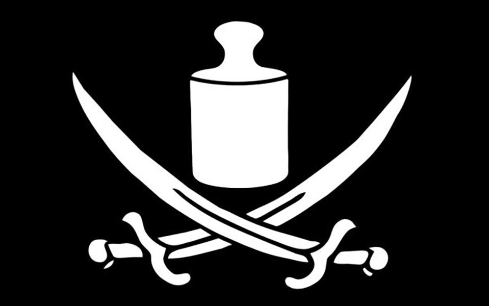 Pirate flag with grave