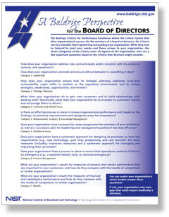 "Cover image of ""Baldrige for the Board of Directors"" resource"