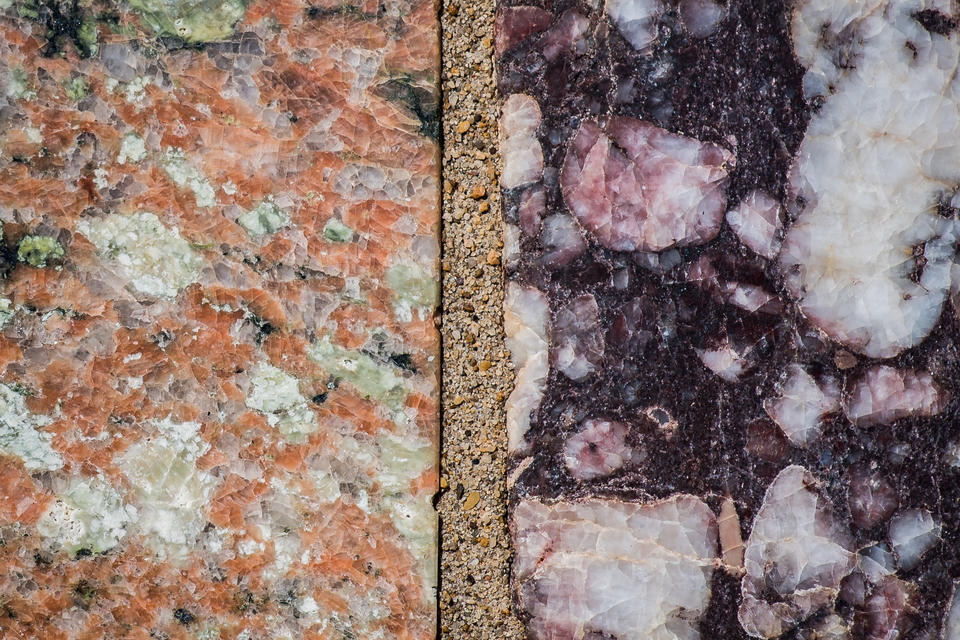 NIST Stone Test Wall New Jersey orange and green granite and purple conglomerate