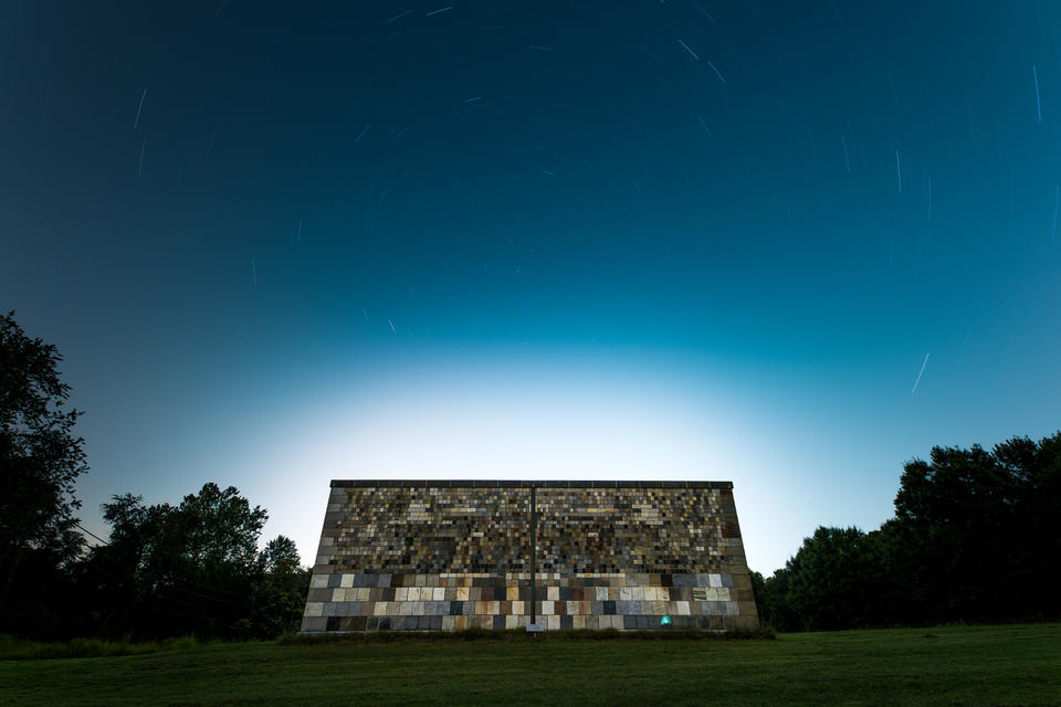 The NIST stone test wall under the stars
