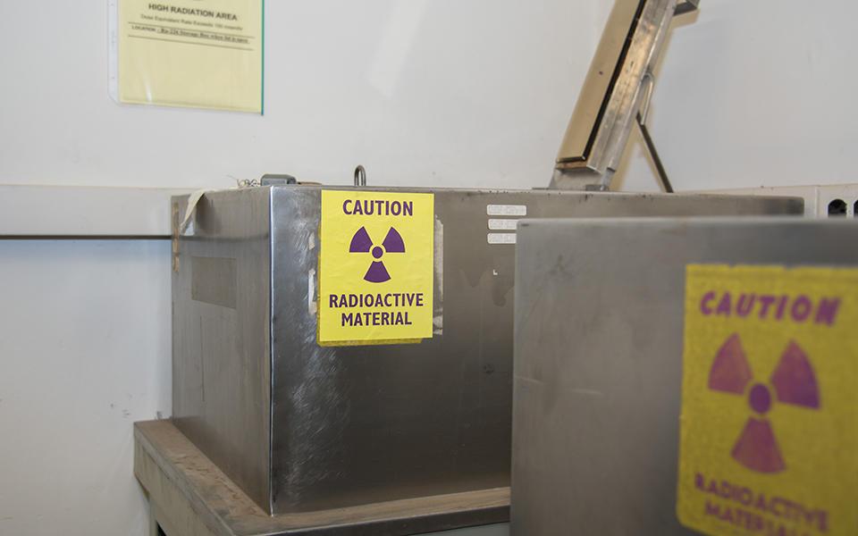 Steel casement containing Curie's last radium standard