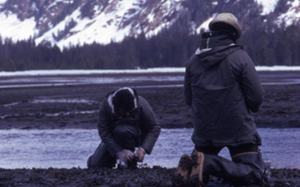 Harry Hertz and associated doing environmental sediment sampling in Prince William Sound Alaska.