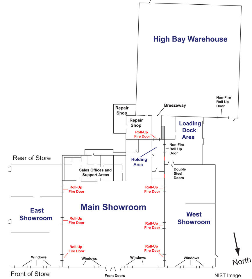 The High Bay Warehouse is in the upper right corner. Main Showroom bottom middle with the East Showroom to the left and the West Showroom to the right.