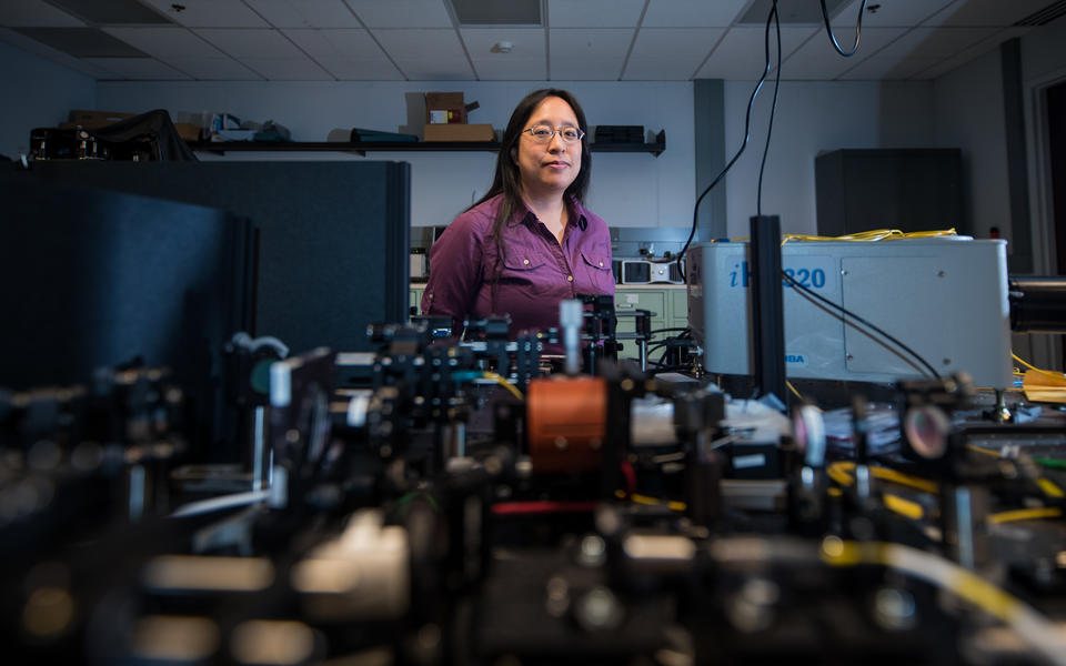 Paulina Kuo in her laser lab