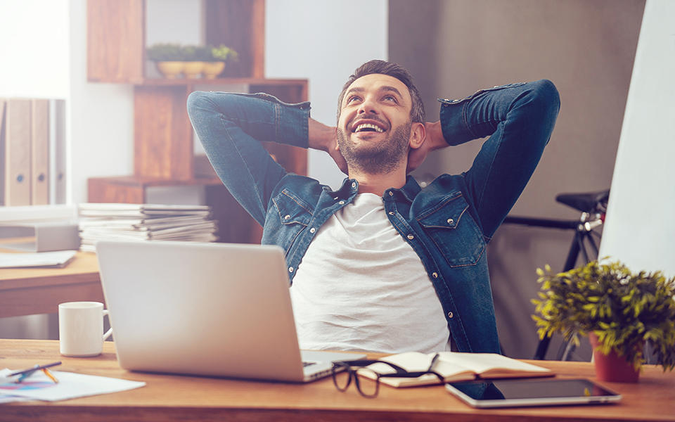 man satisfied with his computing experience