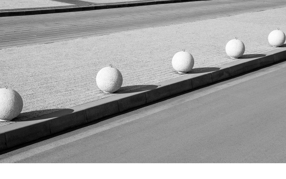 White balls in a row