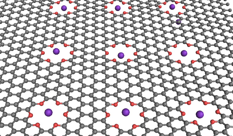 Illustration of gray-colored chains linked together with red holes and purple spheres