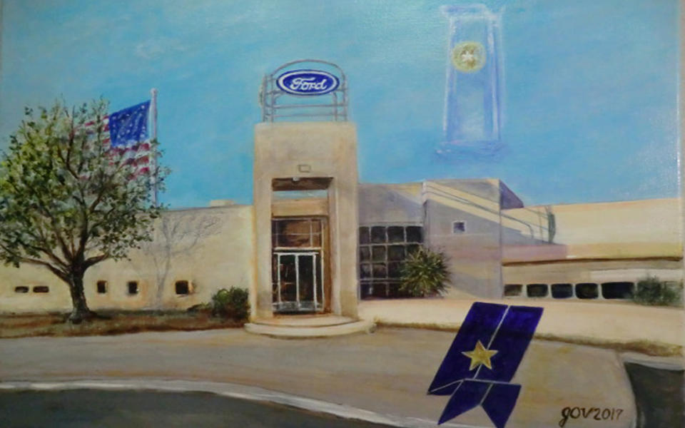 A painting of the Don Chalmers Ford Dealership by JoAnn Vinyard.
