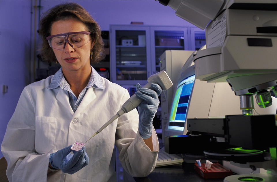 """NIST biomedical engineer Laurie Locascio places a water sample on a highly sensitive, inexpensive """"lab-on-a-chip"""""""