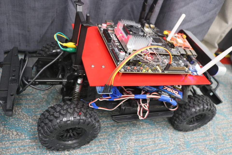 Photo of a remote controlled car with tracking technology built into it