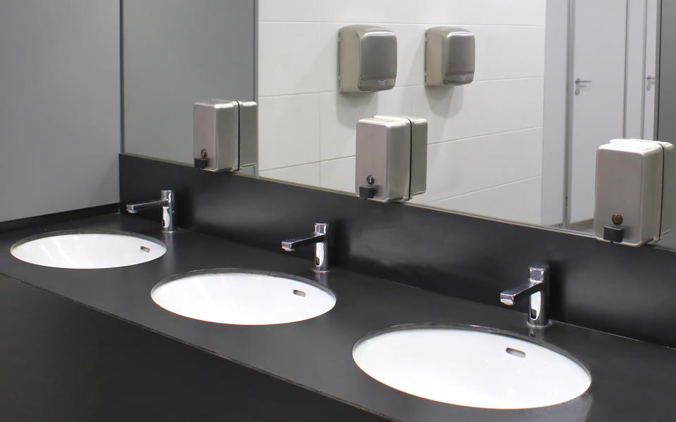 Let the Soap and Water Flow (Maybe) blog photo showing a public bathroom with three sinks.
