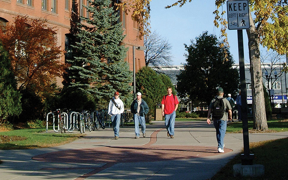University of Wisconsin-Stout students walking on campus.