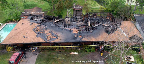 Wind Driven Fire in Home, Texas, 2009. Aerial view of damage to the structure. Photo credit: Houston Fire Department.