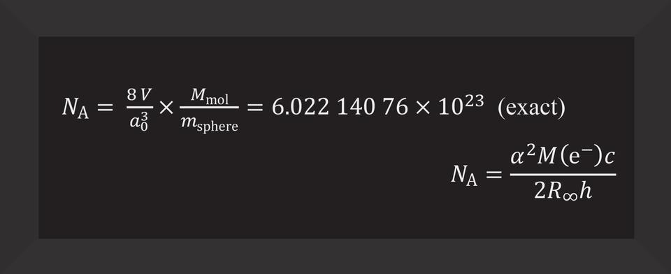 N subscript A equals 8V / a (subscript 0 superscript 3) times M (subscript mol) / m (supscript sphere) equals 6.02214076 x 10 (superscript 23)