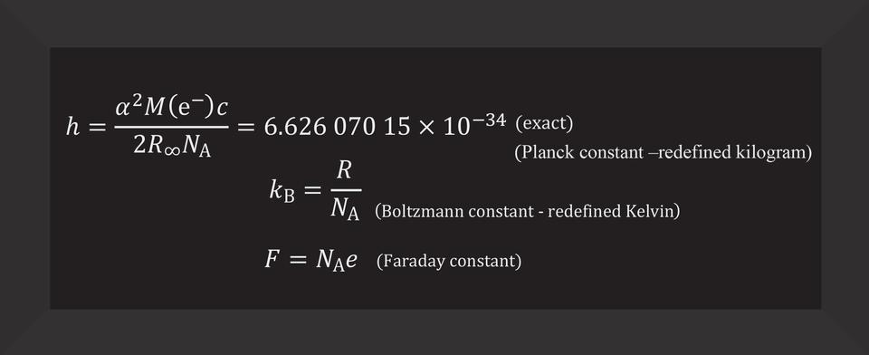 h = a (super 2) M (e super em-dash) c / 2 R (sub infinity) N (sub A) = 6.62607015 x 10 (super em dash 34)