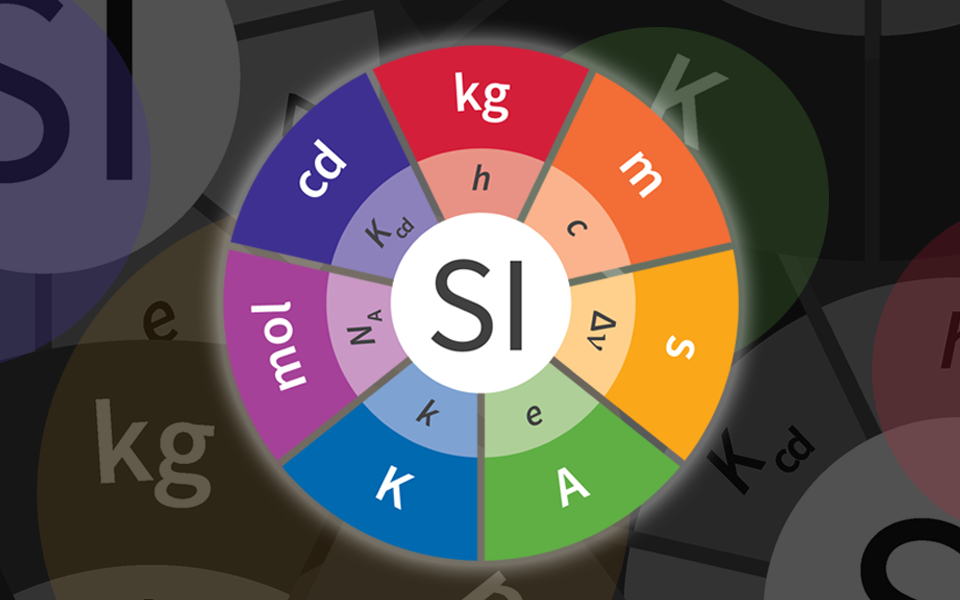 Circular multicolored graphic showing the symbols for the SI base units and the constants that are used to define them.