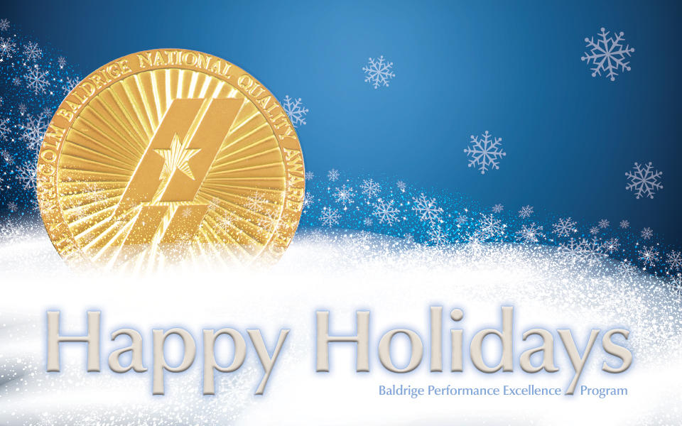 Baldrige Program Happy Holidays 2018 artwork of Award medallion sitting in snow.